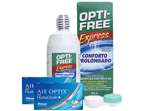 Lentillas Air Optix Plus HydraGlyde + Opti-Free Express - Packs